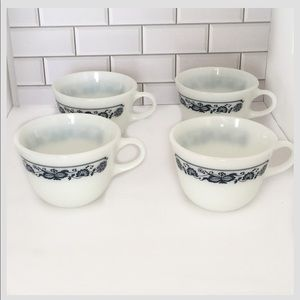 Vintage Pyrex blue onion cups set of four